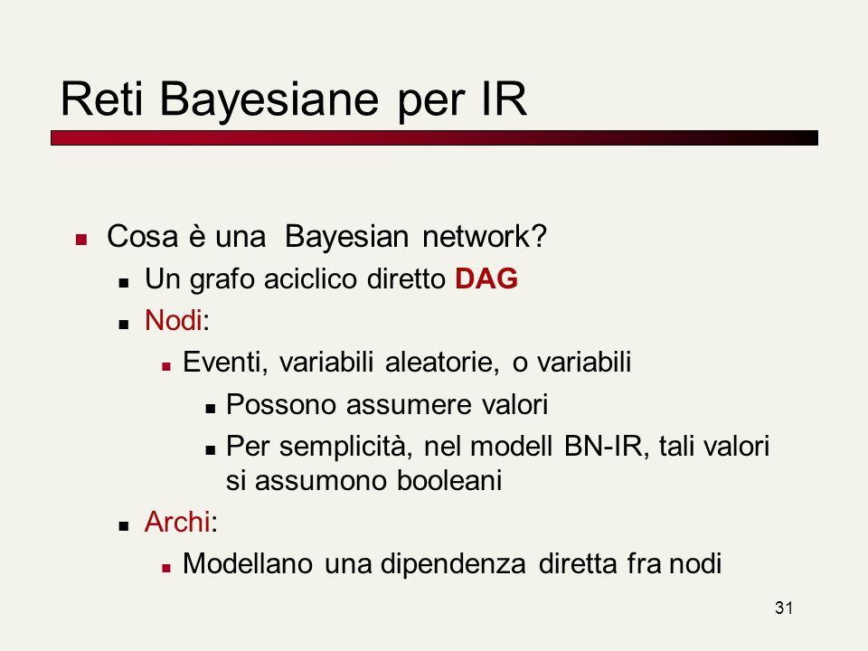 Reti Bayesiane per IR Cosa è una Bayesian network