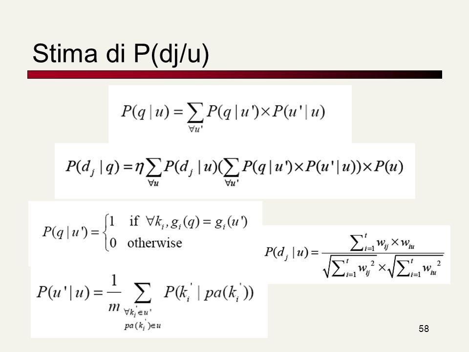 Stima di P(dj/u)