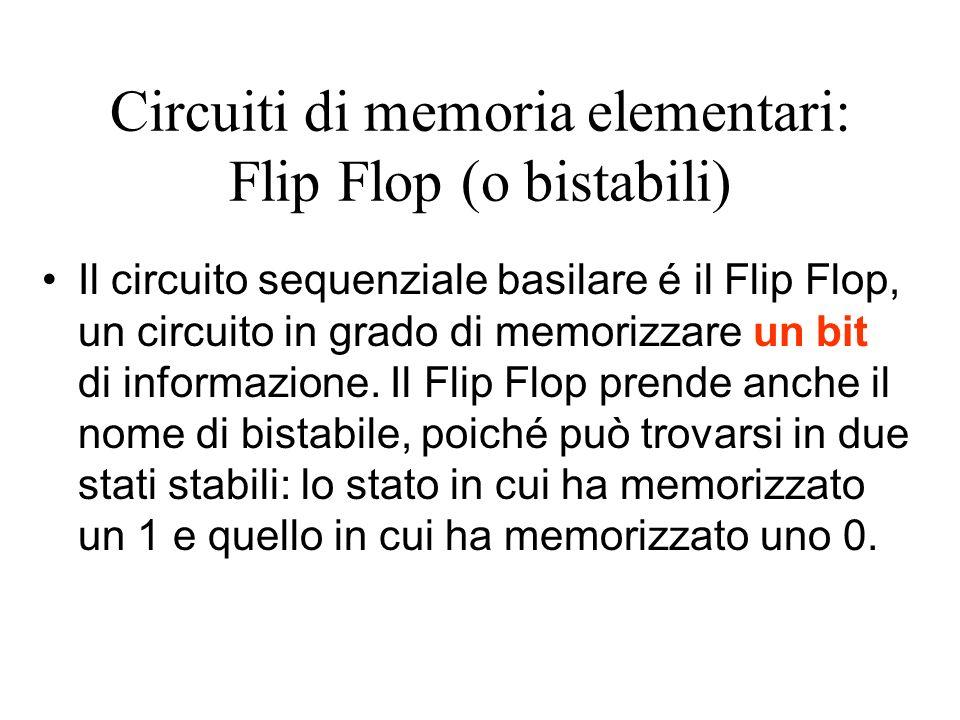 Circuiti di memoria elementari: Flip Flop (o bistabili)