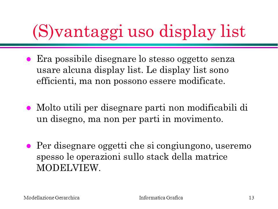 (S)vantaggi uso display list