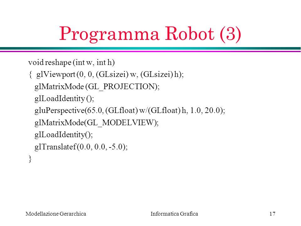 Programma Robot (3) void reshape (int w, int h)