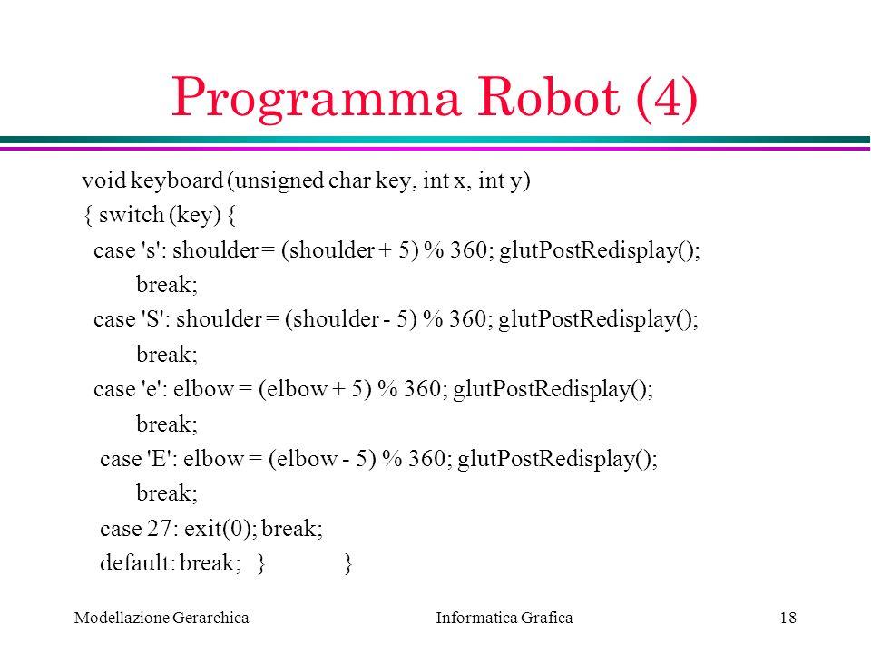 Programma Robot (4) void keyboard (unsigned char key, int x, int y)