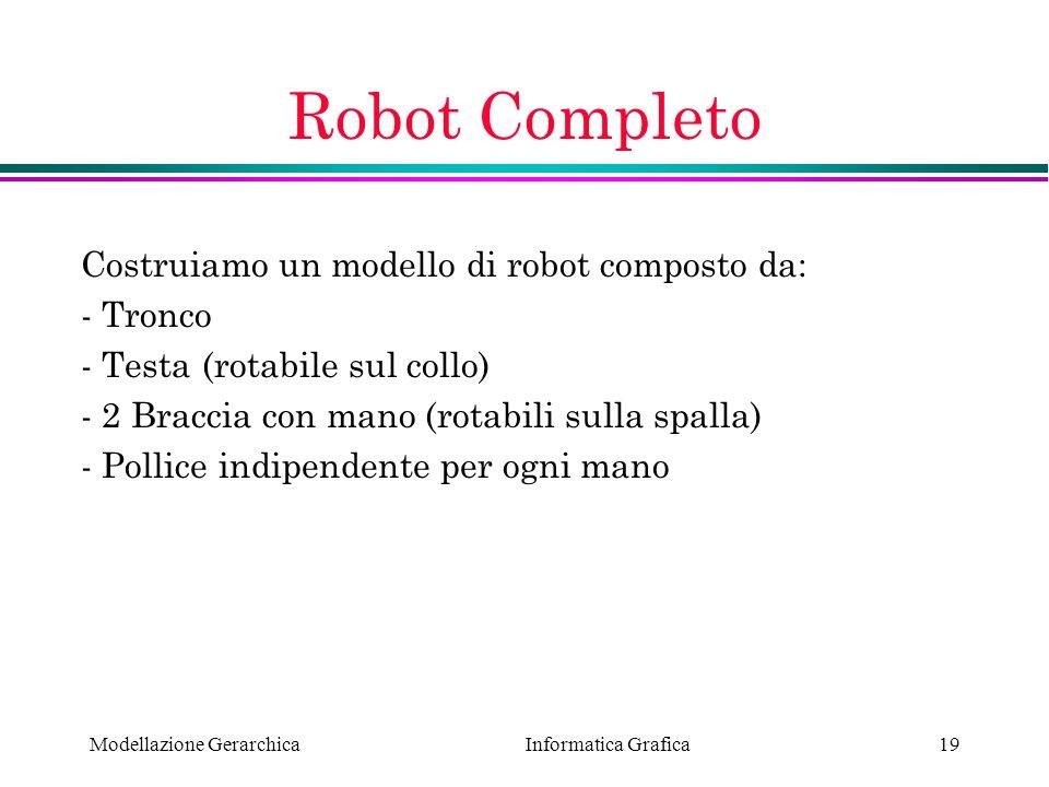 Robot Completo Costruiamo un modello di robot composto da: - Tronco