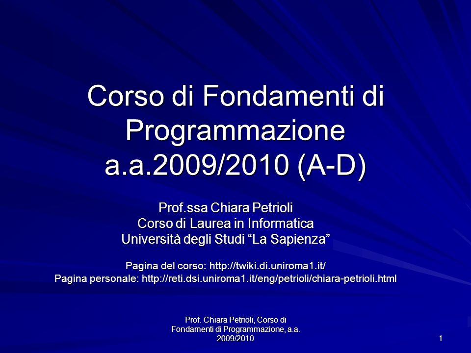 Corso di Fondamenti di Programmazione a.a.2009/2010 (A-D)