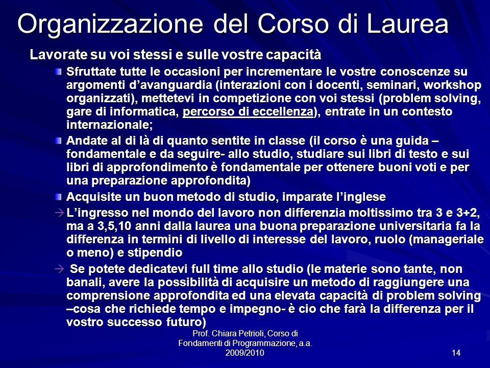 Organizzazione del Corso di Laurea