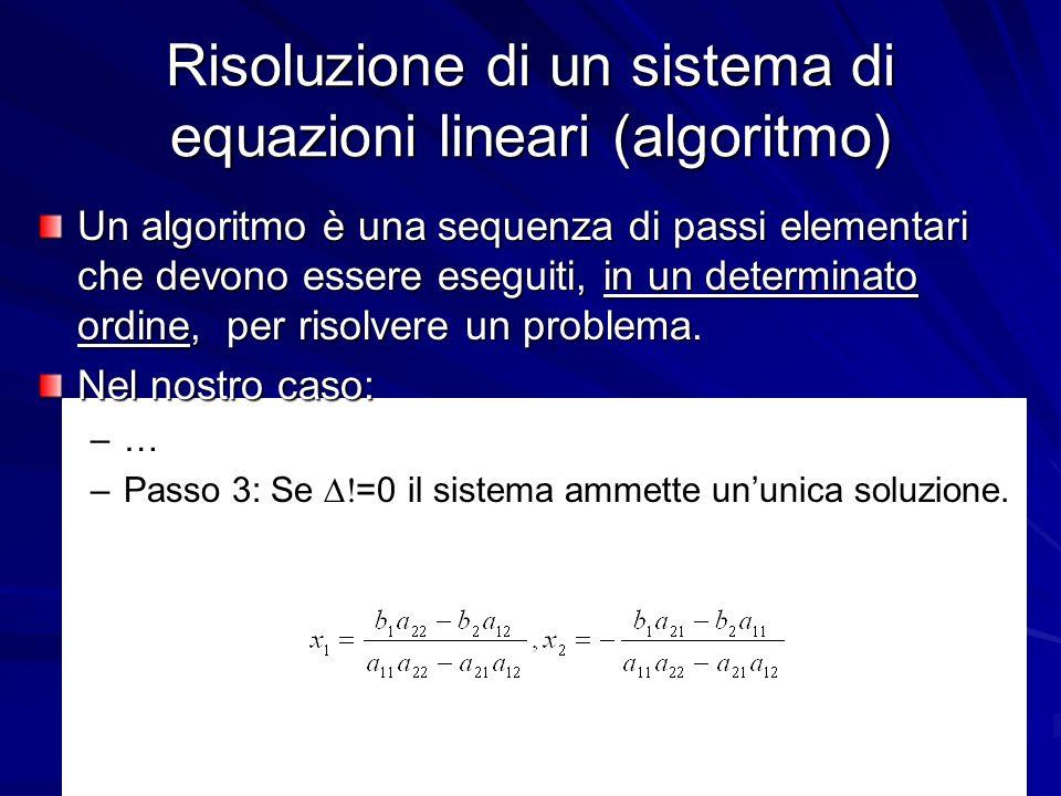 Risoluzione di un sistema di equazioni lineari (algoritmo)
