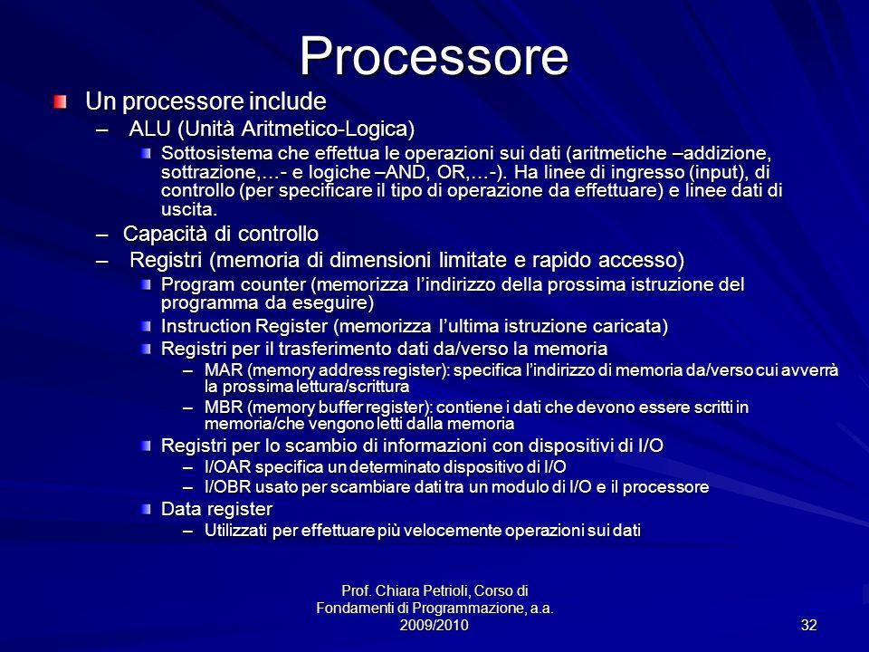 Processore Un processore include ALU (Unità Aritmetico-Logica)
