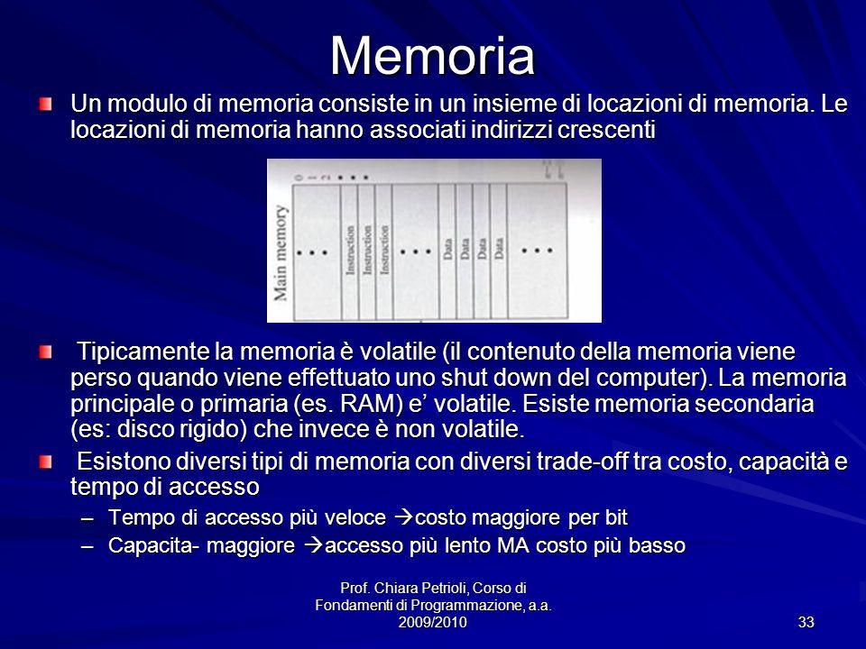 Memoria Un modulo di memoria consiste in un insieme di locazioni di memoria. Le locazioni di memoria hanno associati indirizzi crescenti.