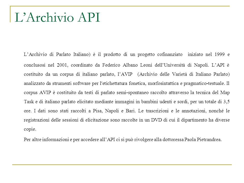 L'Archivio API