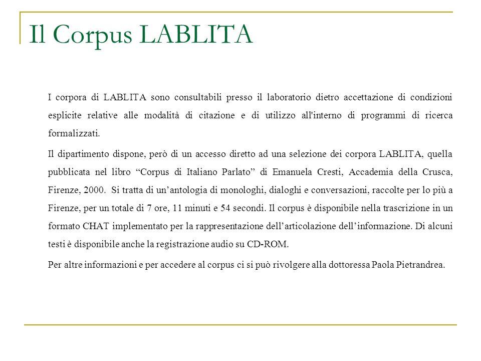Il Corpus LABLITA