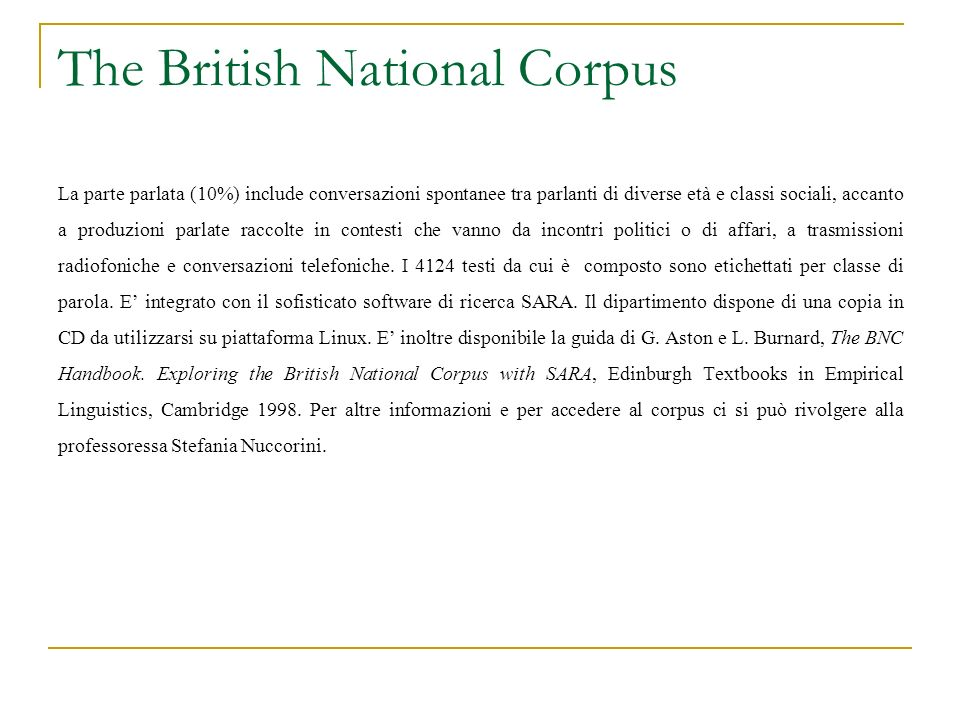 The British National Corpus