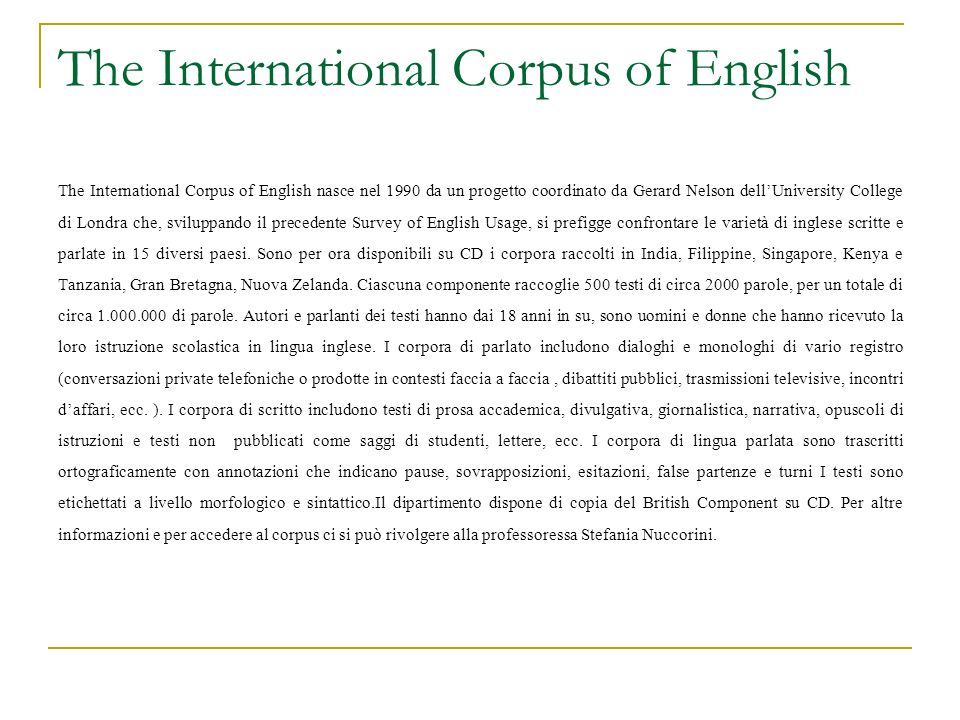 The International Corpus of English