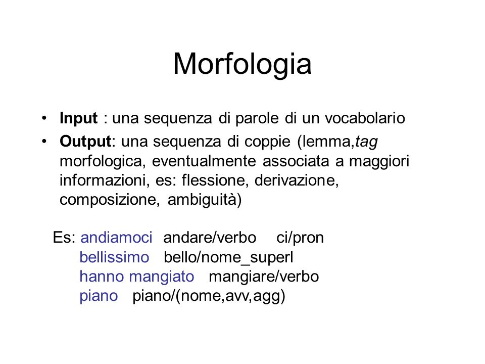 Morfologia Input : una sequenza di parole di un vocabolario