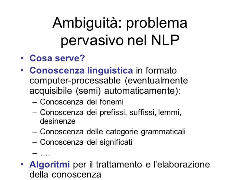 Ambiguità: problema pervasivo nel NLP