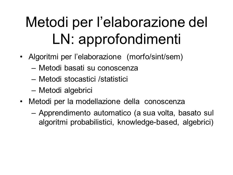 Metodi per l'elaborazione del LN: approfondimenti