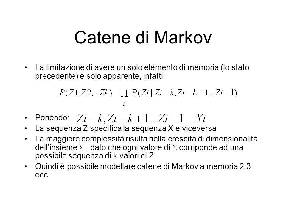 Catene di Markov La limitazione di avere un solo elemento di memoria (lo stato precedente) è solo apparente, infatti:
