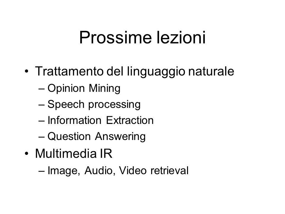 Prossime lezioni Trattamento del linguaggio naturale Multimedia IR