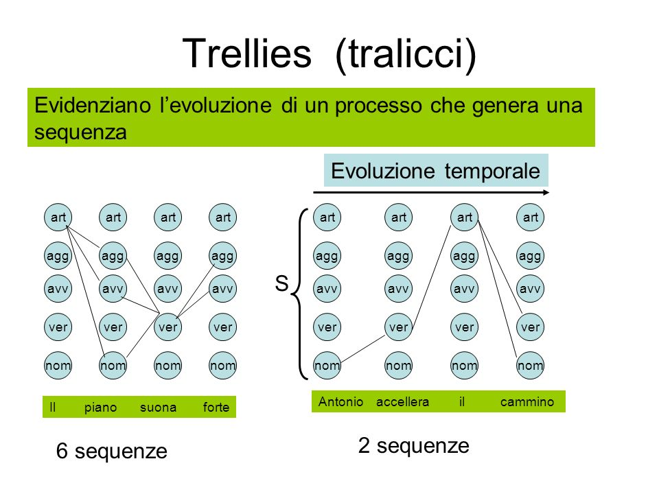 Trellies (tralicci)Evidenziano l'evoluzione di un processo che genera una. sequenza. Evoluzione temporale.