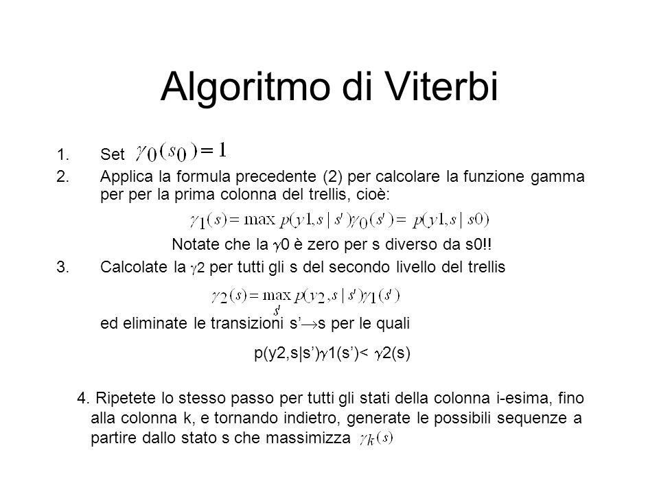 Algoritmo di Viterbi ed eliminate le transizioni s's per le quali Set