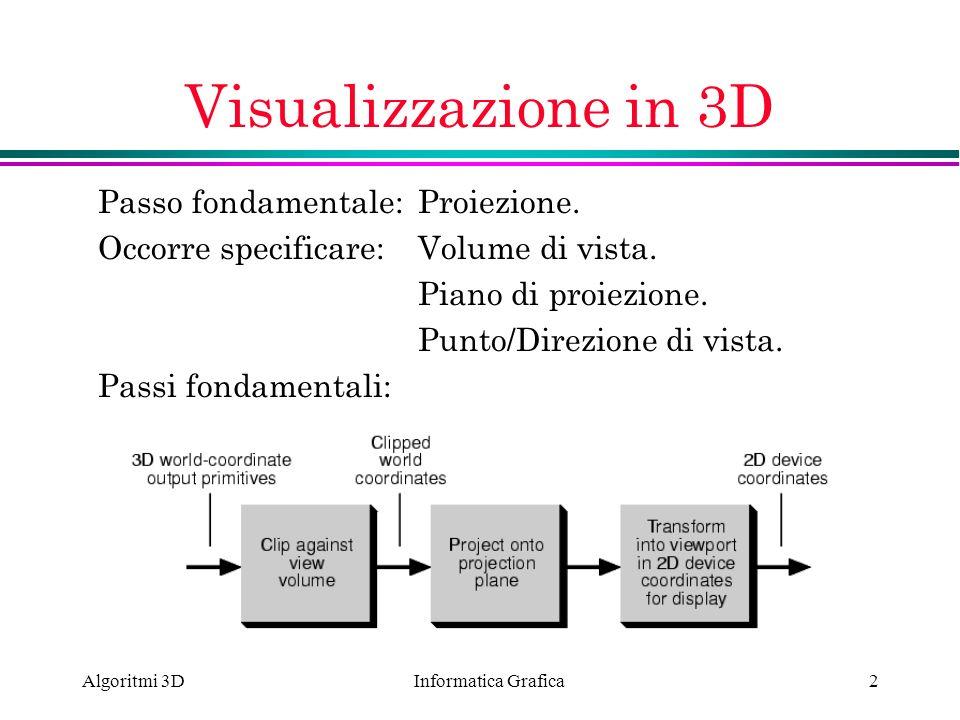 Visualizzazione in 3D Passo fondamentale: Proiezione.