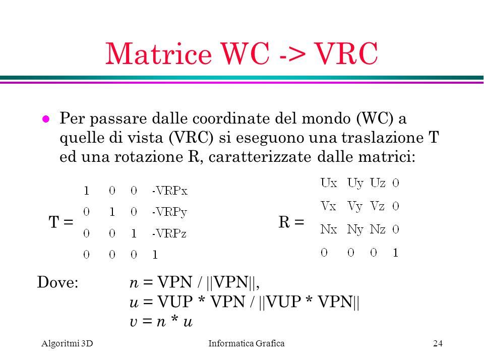 Matrice WC -> VRC