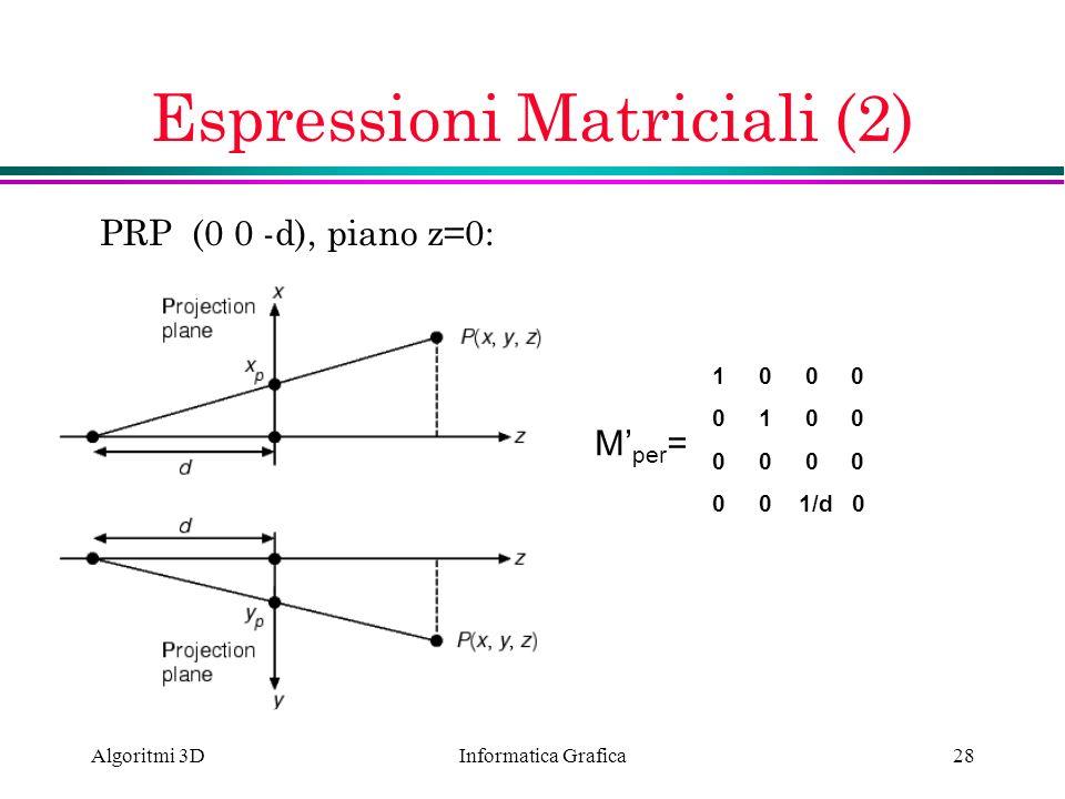 Espressioni Matriciali (2)