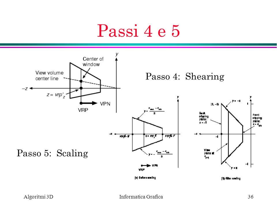 Passi 4 e 5 Passo 4: Shearing Passo 5: Scaling Algoritmi 3D