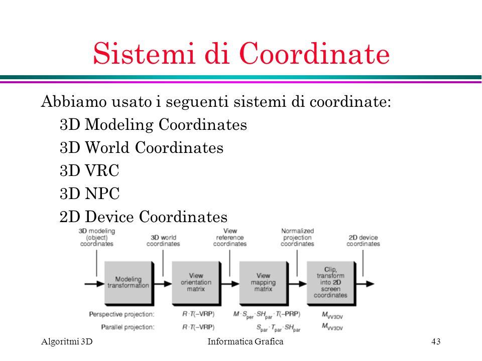 Sistemi di Coordinate Abbiamo usato i seguenti sistemi di coordinate: