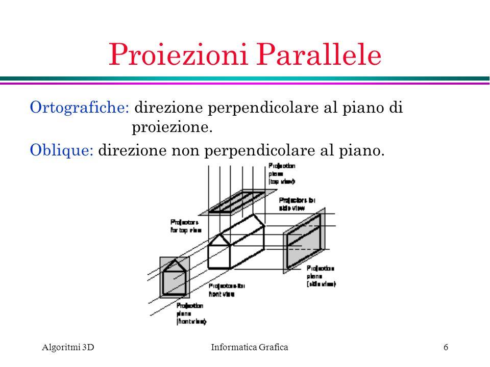 Proiezioni Parallele Ortografiche: direzione perpendicolare al piano di proiezione. Oblique: direzione non perpendicolare al piano.