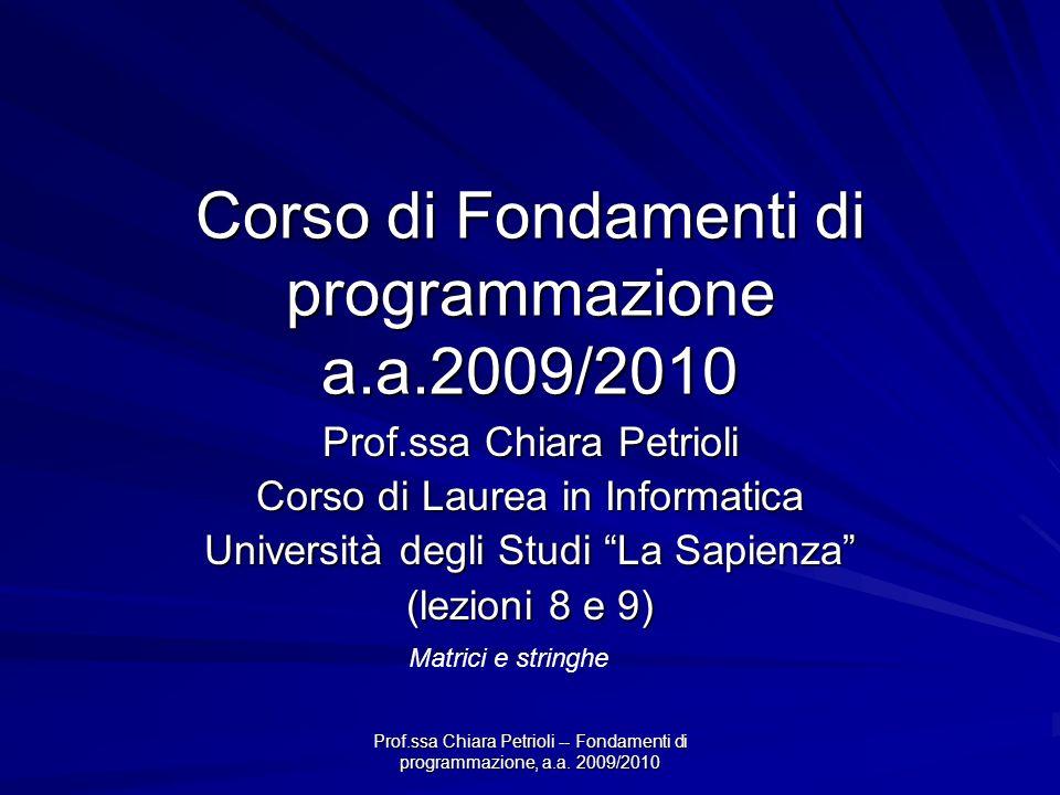 Corso di Fondamenti di programmazione a.a.2009/2010