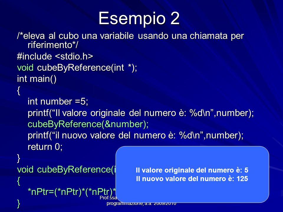 Il valore originale del numero è: 5 Il nuovo valore del numero è: 125