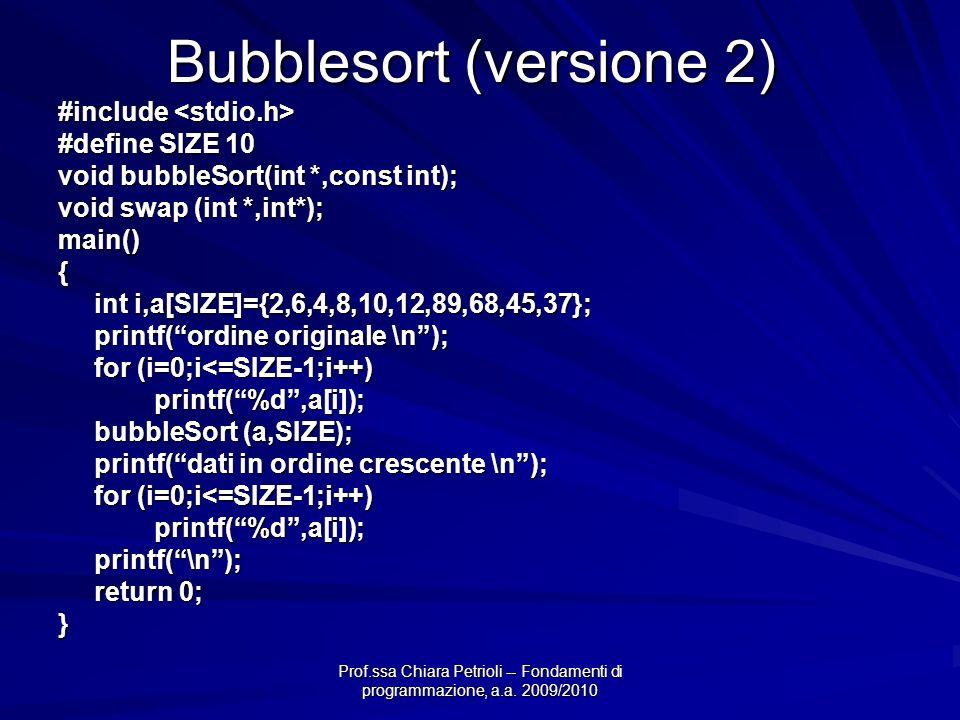 Bubblesort (versione 2)