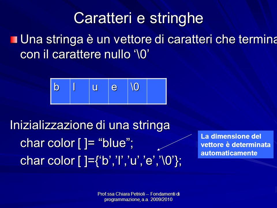 Caratteri e stringhe Una stringa è un vettore di caratteri che termina con il carattere nullo '\0' Inizializzazione di una stringa.