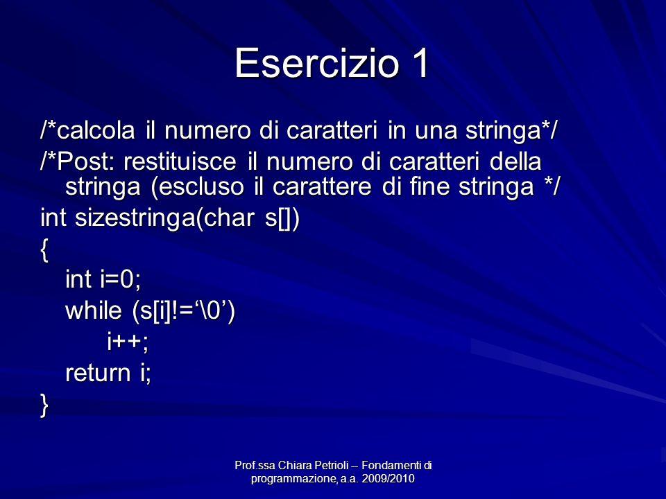 Esercizio 1 /*calcola il numero di caratteri in una stringa*/