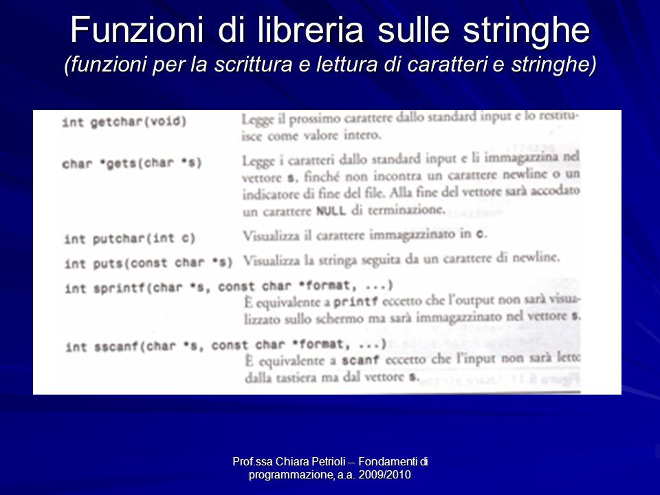 Funzioni di libreria sulle stringhe (funzioni per la scrittura e lettura di caratteri e stringhe)