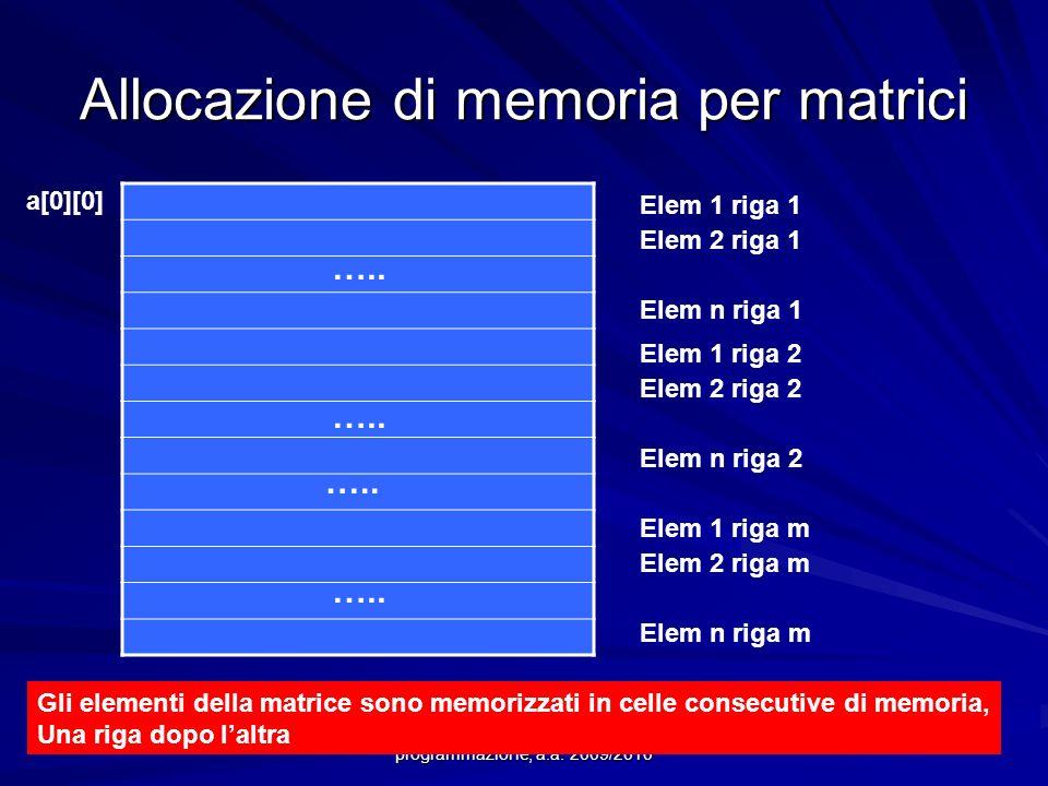 Allocazione di memoria per matrici