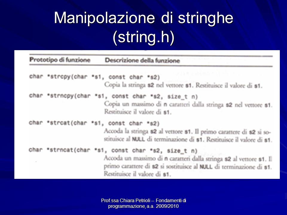 Manipolazione di stringhe (string.h)