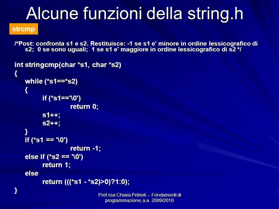 Alcune funzioni della string.h