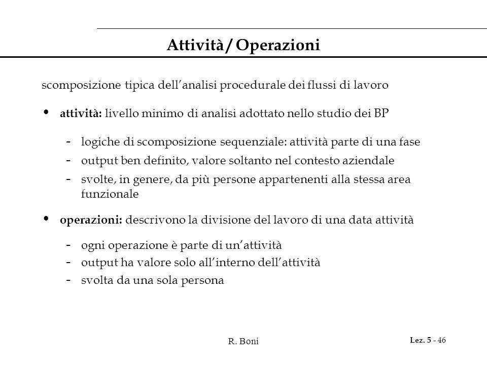 Attività / Operazioni scomposizione tipica dell'analisi procedurale dei flussi di lavoro.
