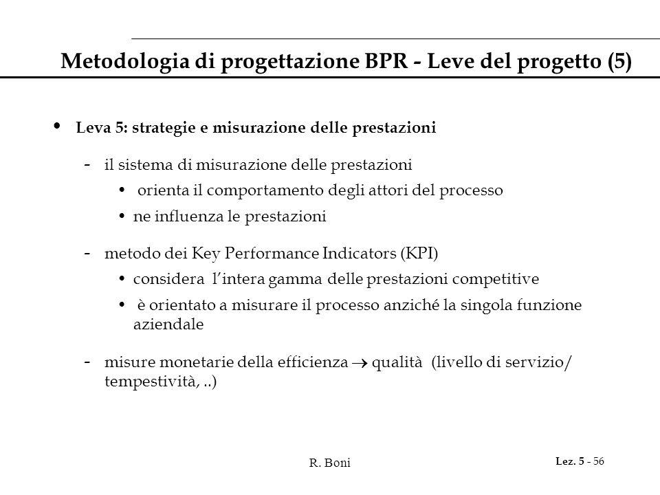 Metodologia di progettazione BPR - Leve del progetto (5)