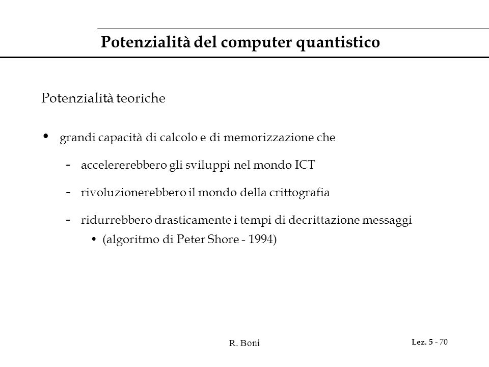 Potenzialità del computer quantistico