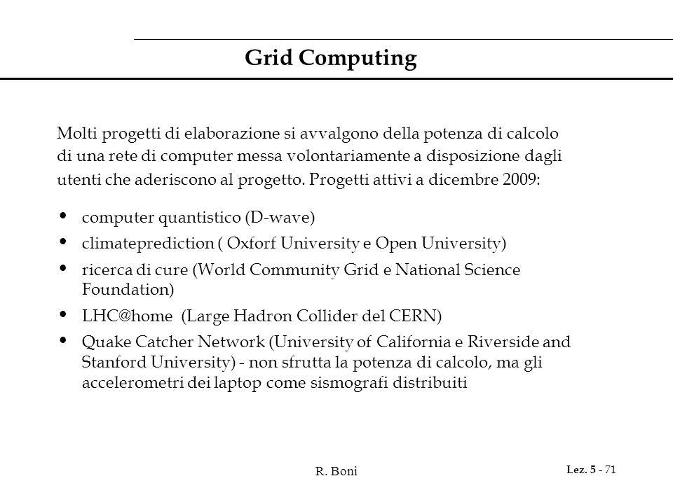 Grid Computing Molti progetti di elaborazione si avvalgono della potenza di calcolo.