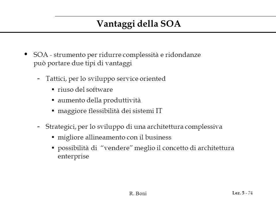 Vantaggi della SOA SOA - strumento per ridurre complessità e ridondanze può portare due tipi di vantaggi.
