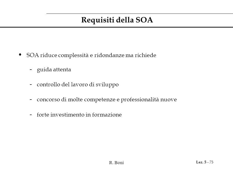 Requisiti della SOA SOA riduce complessità e ridondanze ma richiede