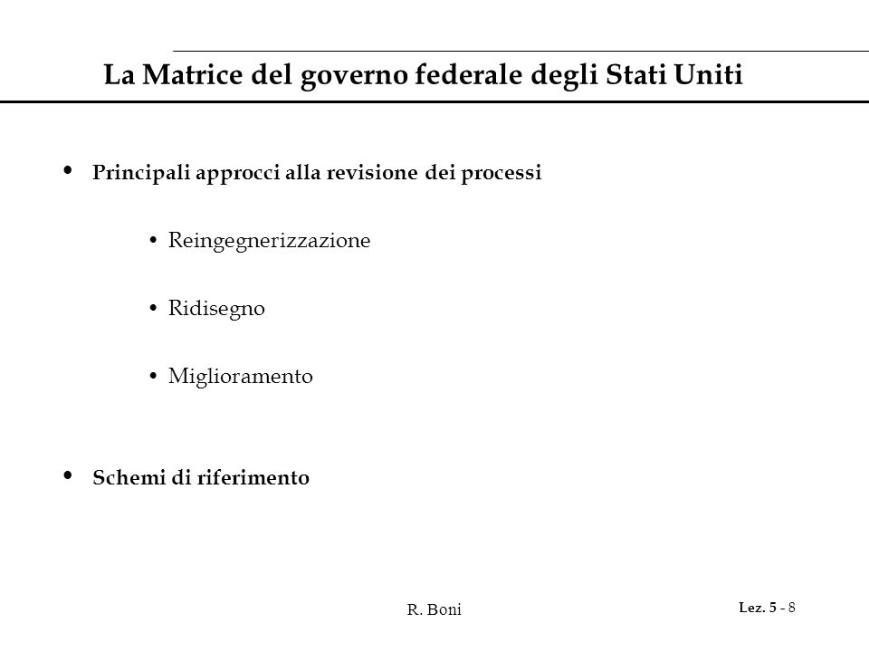 La Matrice del governo federale degli Stati Uniti