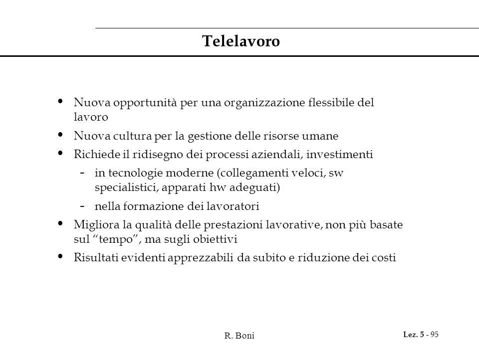 Telelavoro Nuova opportunità per una organizzazione flessibile del lavoro. Nuova cultura per la gestione delle risorse umane.