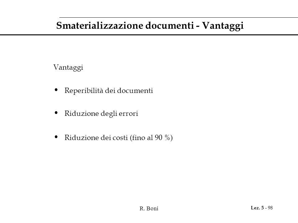 Smaterializzazione documenti - Vantaggi