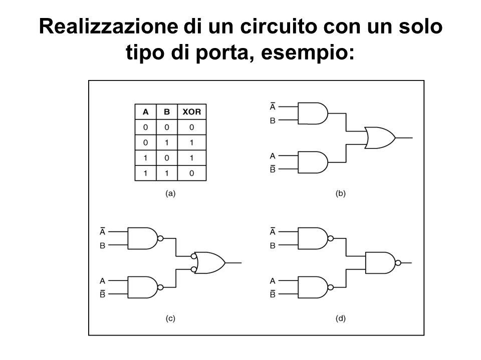 Realizzazione di un circuito con un solo tipo di porta, esempio: