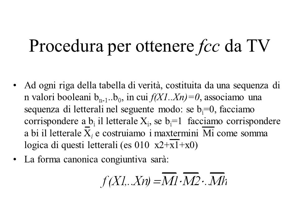 Procedura per ottenere fcc da TV