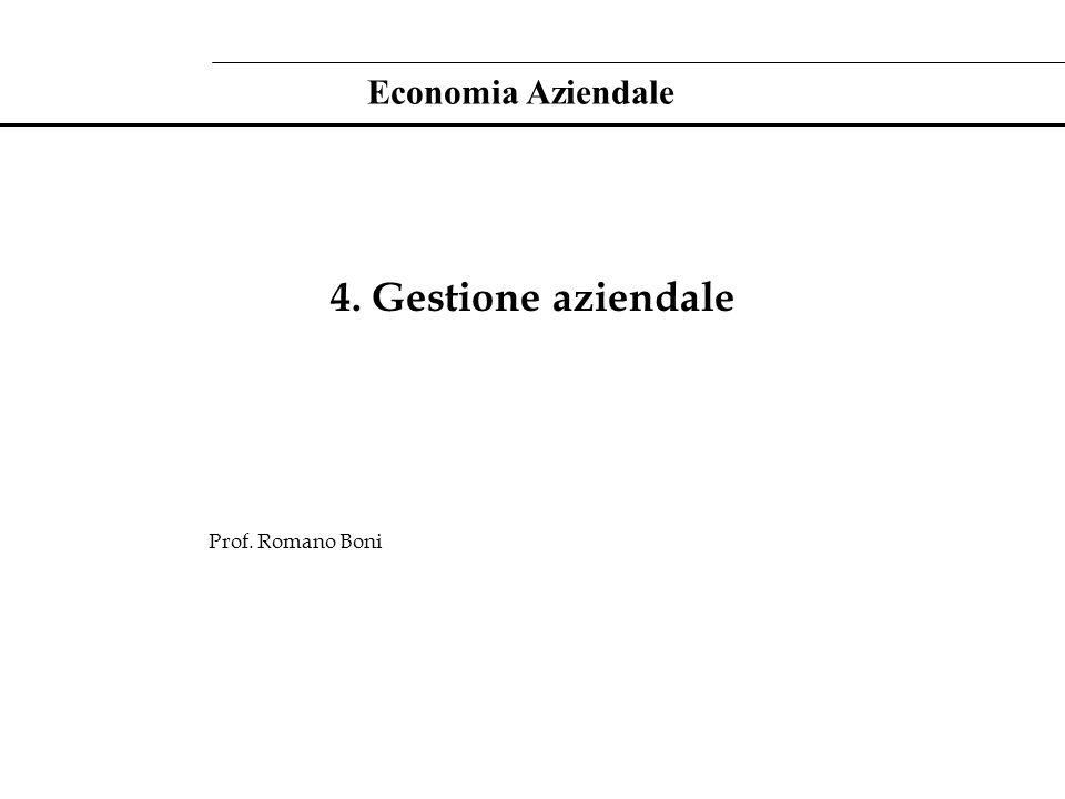 Economia Aziendale 4. Gestione aziendale Prof. Romano Boni
